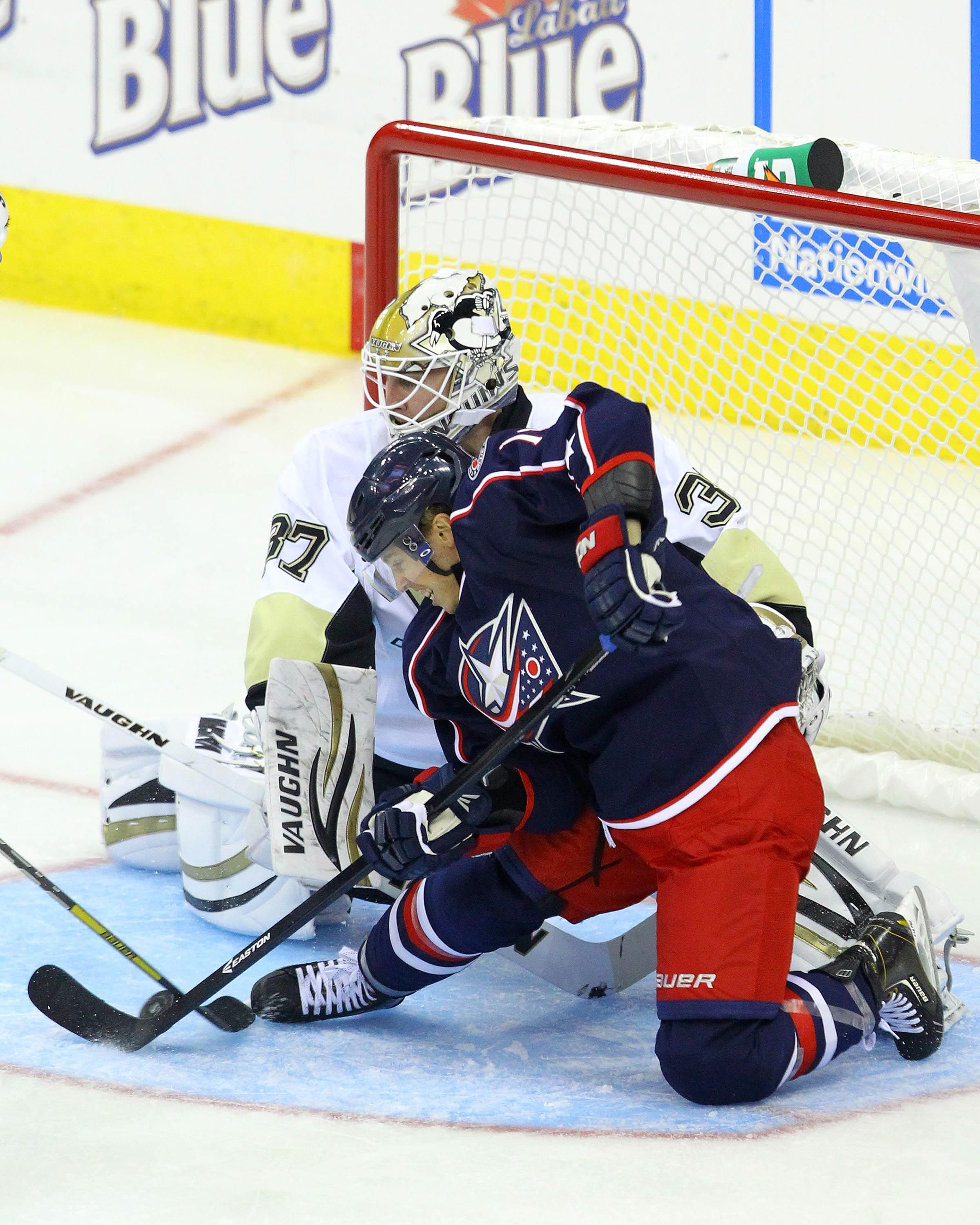CrowdCam Hot Shot: Columbus Blue Jackets forward Cam Atkinson attempts to score against Pittsburgh Penguins goaltender Jeff Zatkott during the 3rd period of the game at Nationwide Arena. Photo by Rob Leifheit