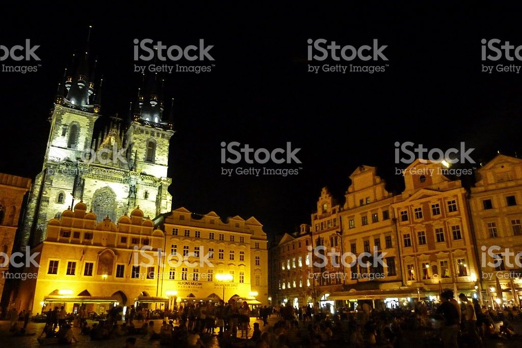 Prague, church of our lady before Tyn at night foto stock royalty-free
