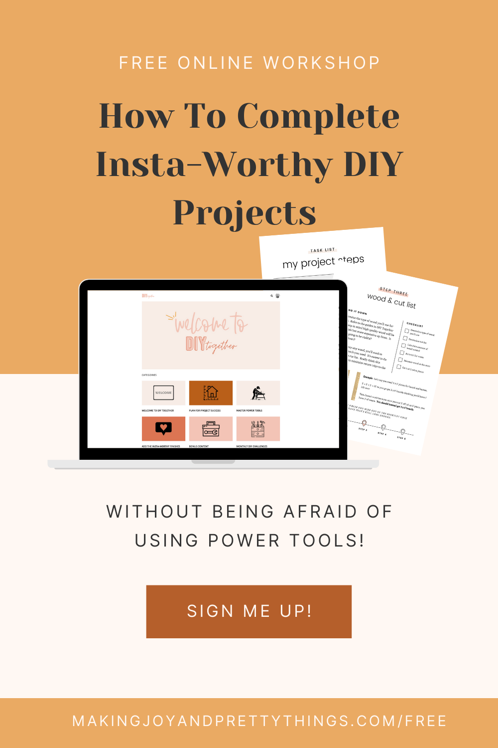 How To Complete Insta Worthy Diy Projects Without Being Afraid Of Using Power Tools Free Workshop In 2021 Used Power Tools Diy Projects Online Workshop