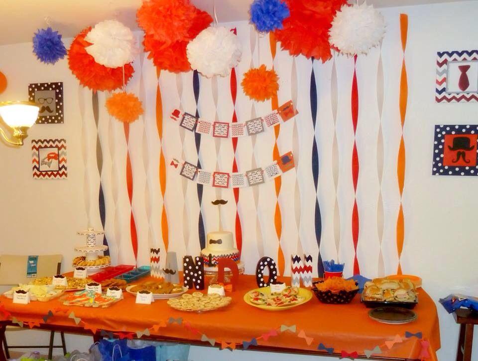 Mustache themed baby shower, chevron, navy red orange gray