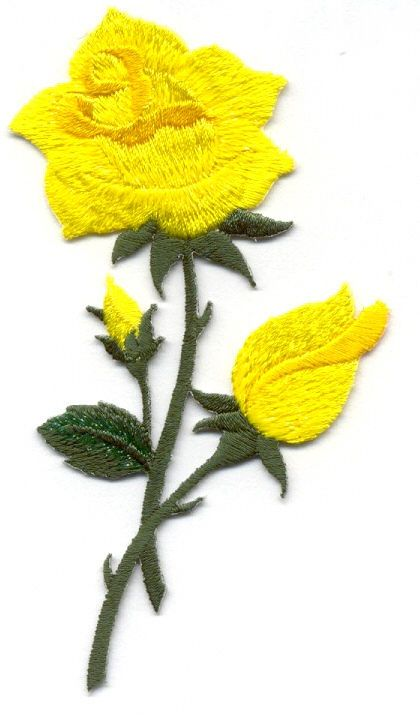 Shimmering Yellow Embroidered Iron On Applique Patch Spring Garden Rose