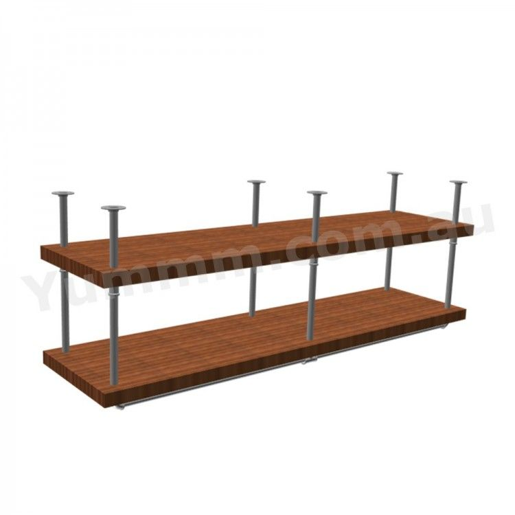 Diy 2 Tiers Ceiling Hung Pipe Shelf Brackets Bs034b