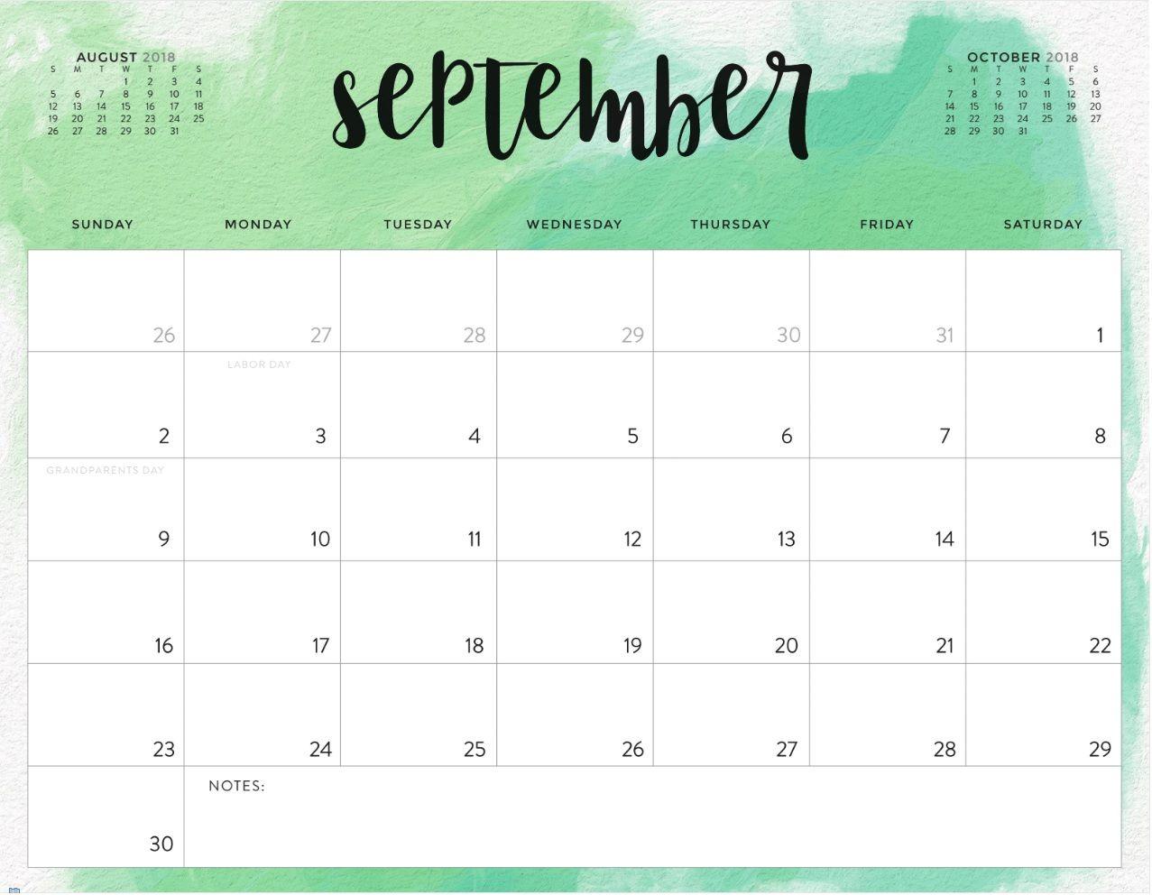 September 2018 Printable Calendar Waterproof | September calendar