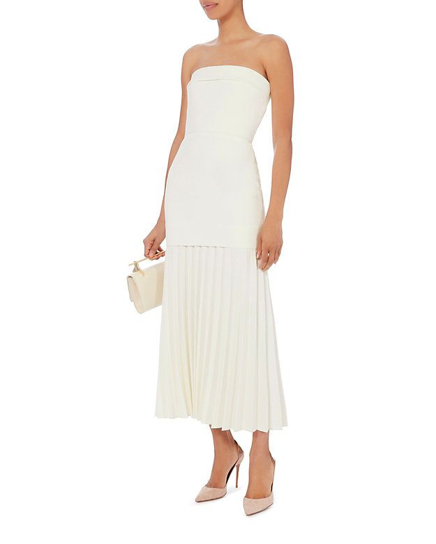 507c194ce5 Dion Lee Ivory Strapless Linear Pleated Dress