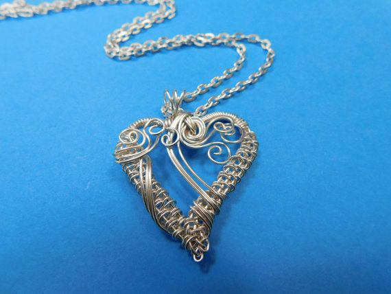 Heart Necklace Gift for Girlfriend, Unique Wire Heart Jewelry ...