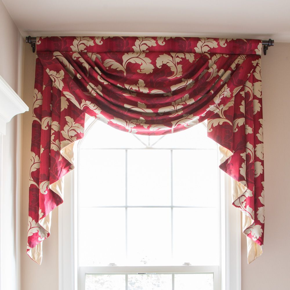 Red Gold Leaf Valance Only Swag Curtains Valance Window