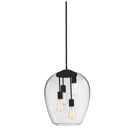 luminaire suspendu au fini noir avec verre clair soutenu par une tige ajustable en hauteur avec. Black Bedroom Furniture Sets. Home Design Ideas