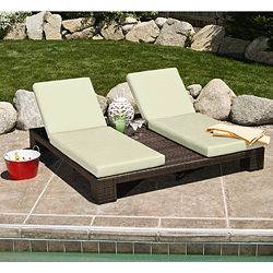 Lay Out In Style With This Double Chaise Chair. This Unique Lounge Chair  Features Eye Catching Brown And White Colors And Include Weather Resistant  Fabric ...