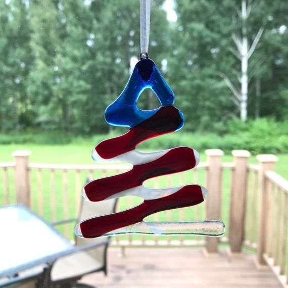 Fused Glass Tree Ornament, Stained Glass Tree, Red White Blue
