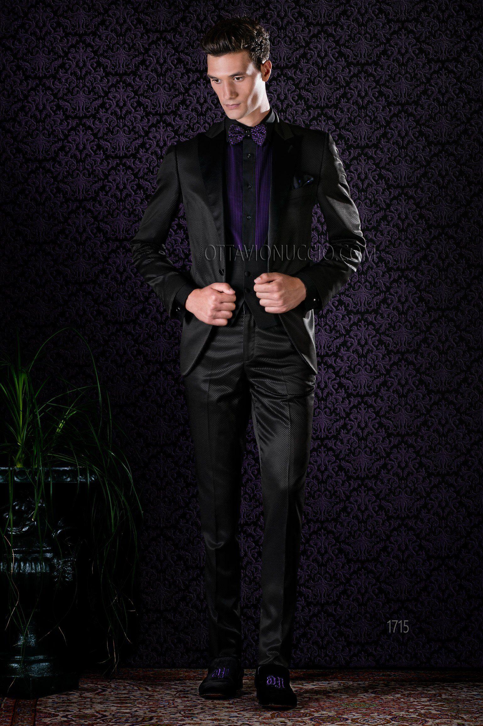 Black peak lapel Italian wedding tuxedo #groom #suit #dapper ...