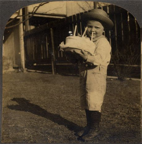 Little Boy Wearing Hat Boots W Birthday Cake Vintage Photo Stereoview