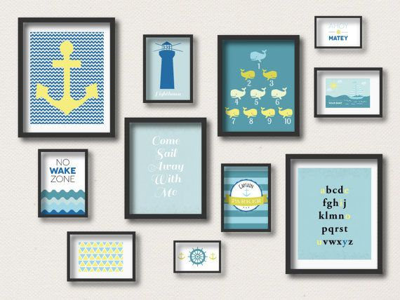 Nursery Prints Nautical Gallery Wall Art Anchor Whales Boats No