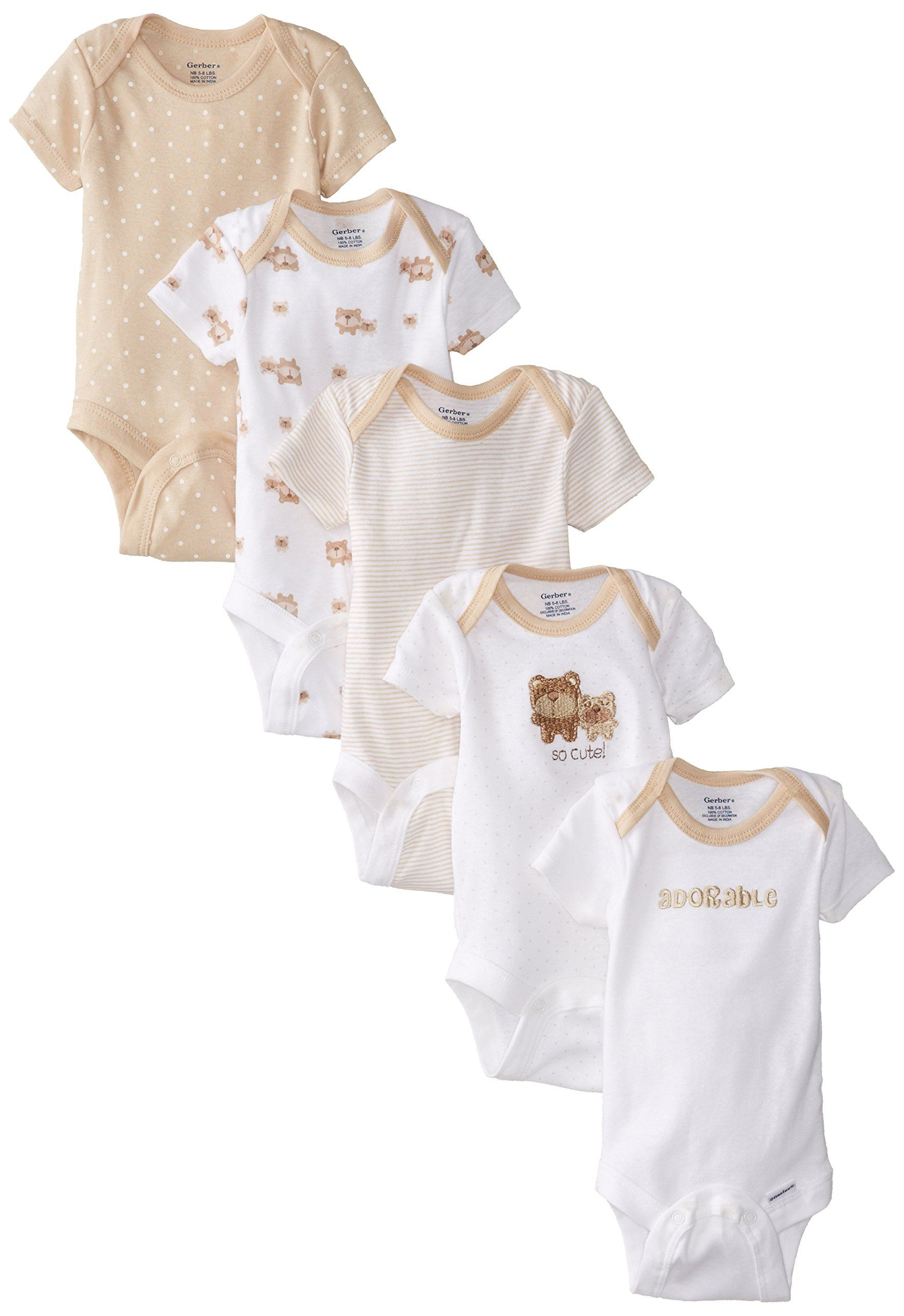 Gerber Unisex Baby Newborn 5 Pack Neutral Variety Onesie