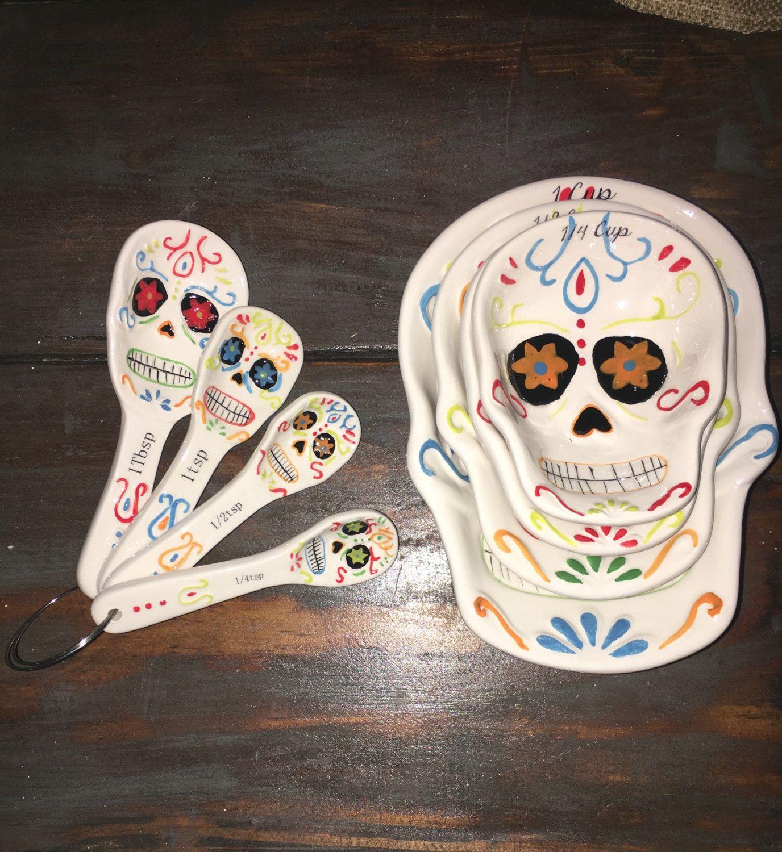Sugar Skull Bathroom Decor Sugar Skull Measuring Cups And Spoons My Sugar Skulls My Sugar