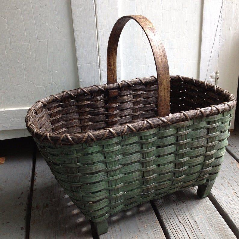 Folklore basket Vintage basket Antique basket Basket Hand basket Old basket Home dekor Rustic farmhouse,Garden basket
