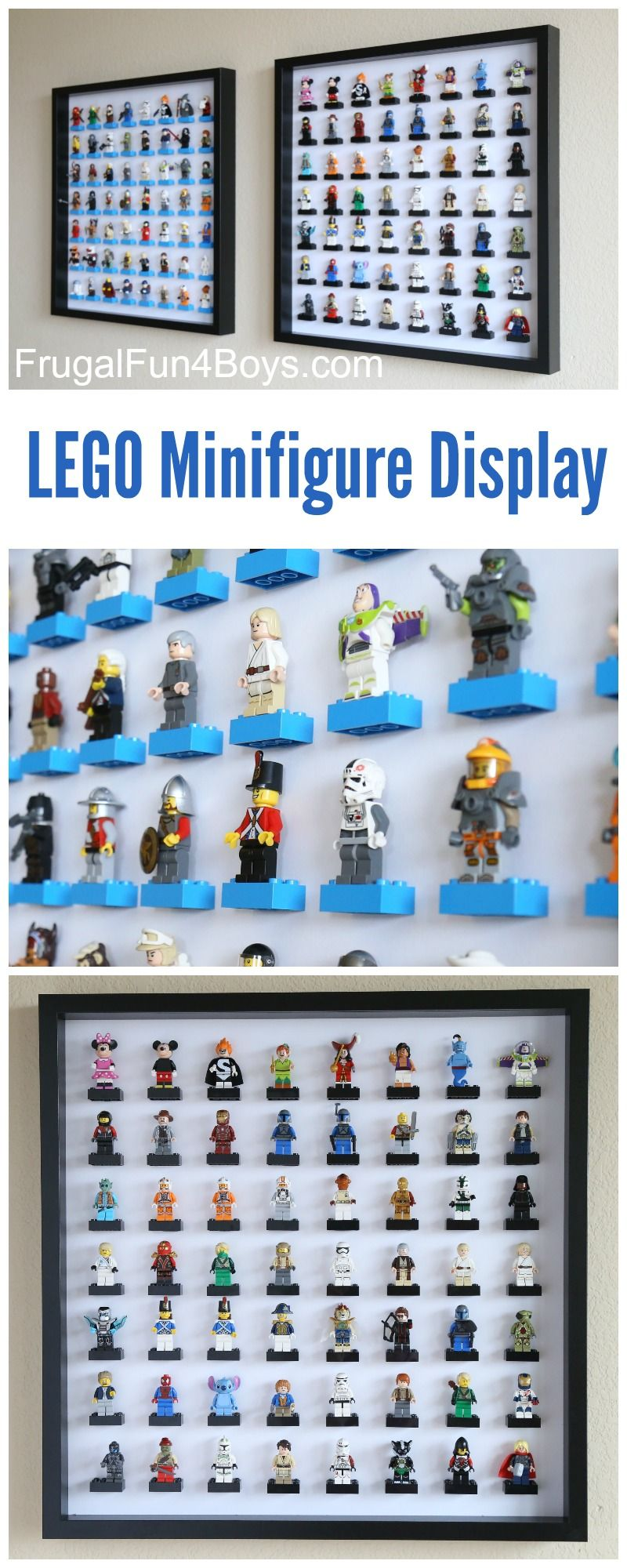 IKEA Frame LEGO Minifigure Display and Storage - Each frame holds 56 LEGO guys. This is so cool! Make one or a few for a huge collection.
