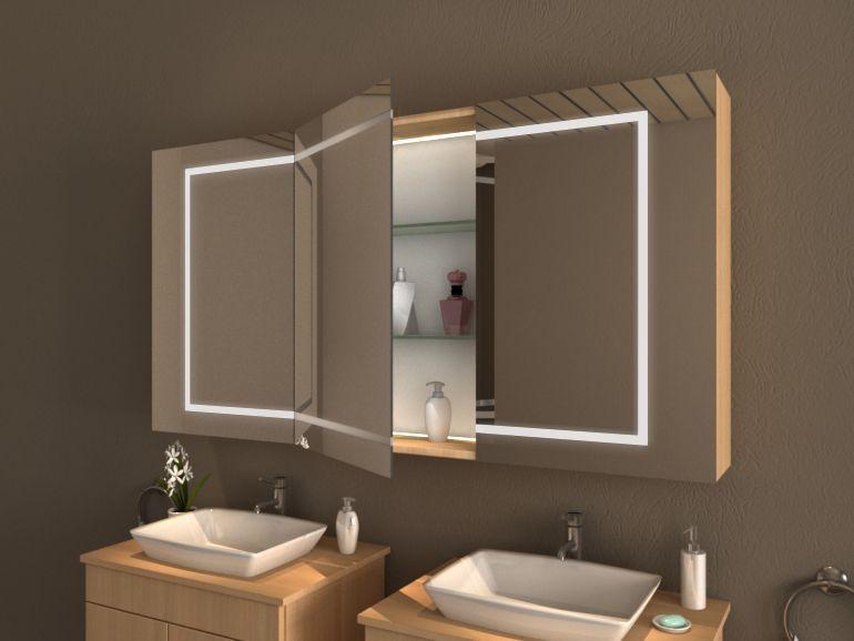 Klassischer Bad Spiegelschrank, LED Beleuchtung integriert   Modell