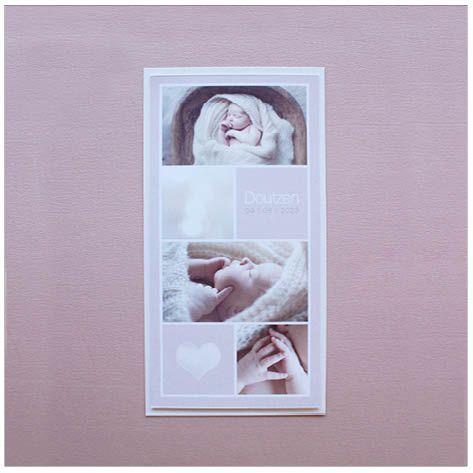 www.hetuilennestje.nl  gebootekaartje Doutzen Lynn: Fotografie/ foto's, collage, hart/ hartjes, simpel, sfeervol, romantisch, babyfoto, vachtje, rustig, lief, zacht, modern, soft, zacht oud roze, fotokaart, simpel, neutraal, less is more, rustig, rechthoekig, verticaal.