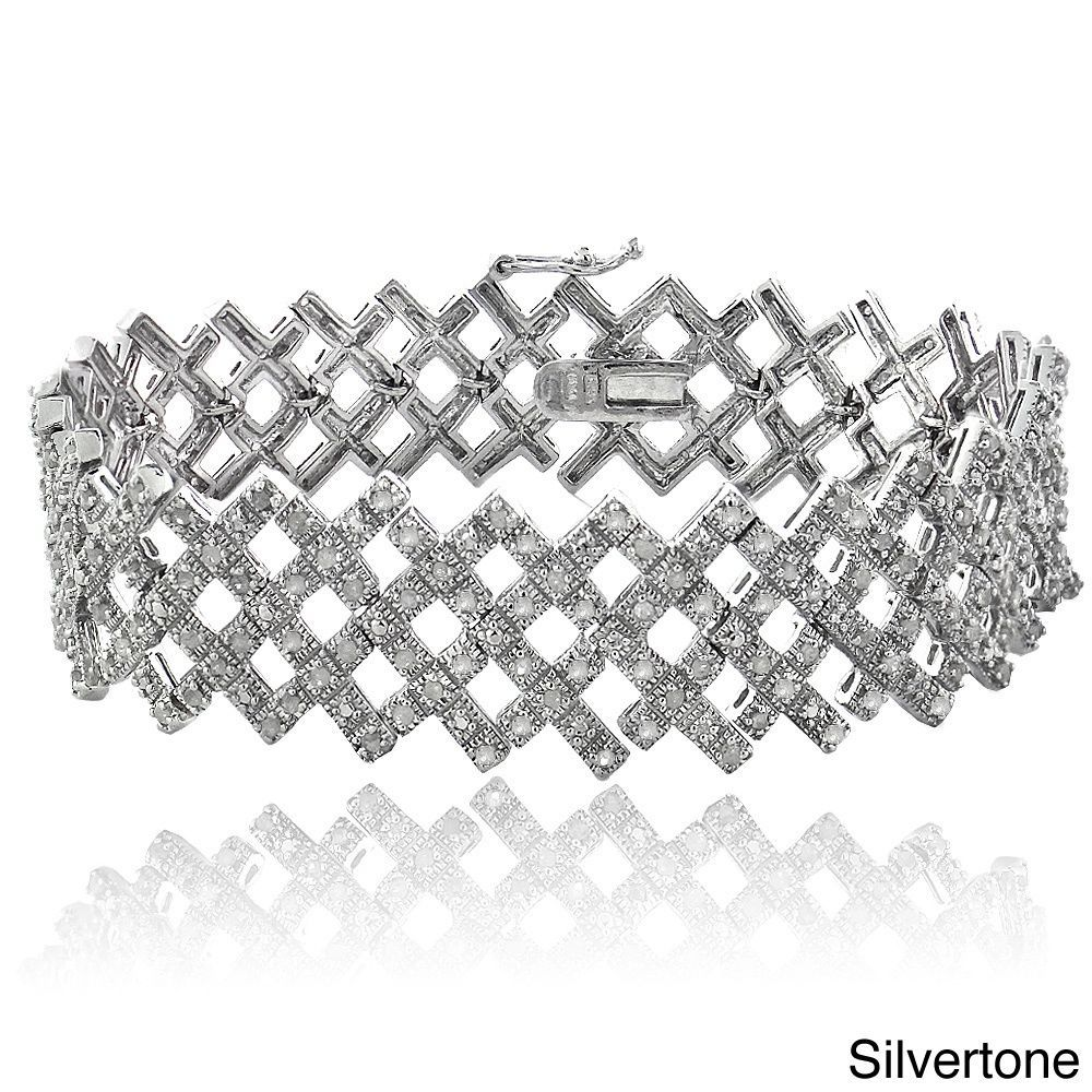 DB Designs 2ct TDW Diamond Criss-cross Bracelet (I-J, I2-I3) (