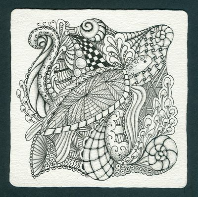 Zentangle sea inches ink graphite on zentangle paper for Zentangle tile template