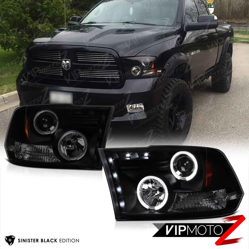 09 18 Dodge Ram Pickup Sinister Black Smoke Halo Led Projector Headlight Lamp Dodge Ram Pickup Dodge Truck Accessories Dodge Ram