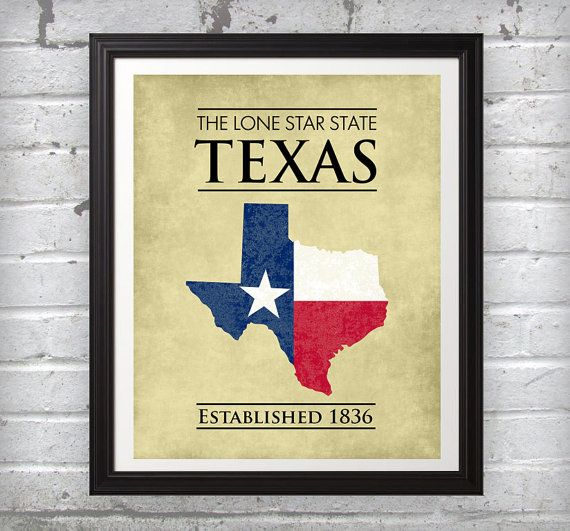 This print features the state of Texas with the Texas flag inside ...