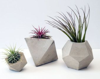 Set De Jardinieres Geometriques En Beton Maison Jardiniere Beton Pots En Beton Et Beton