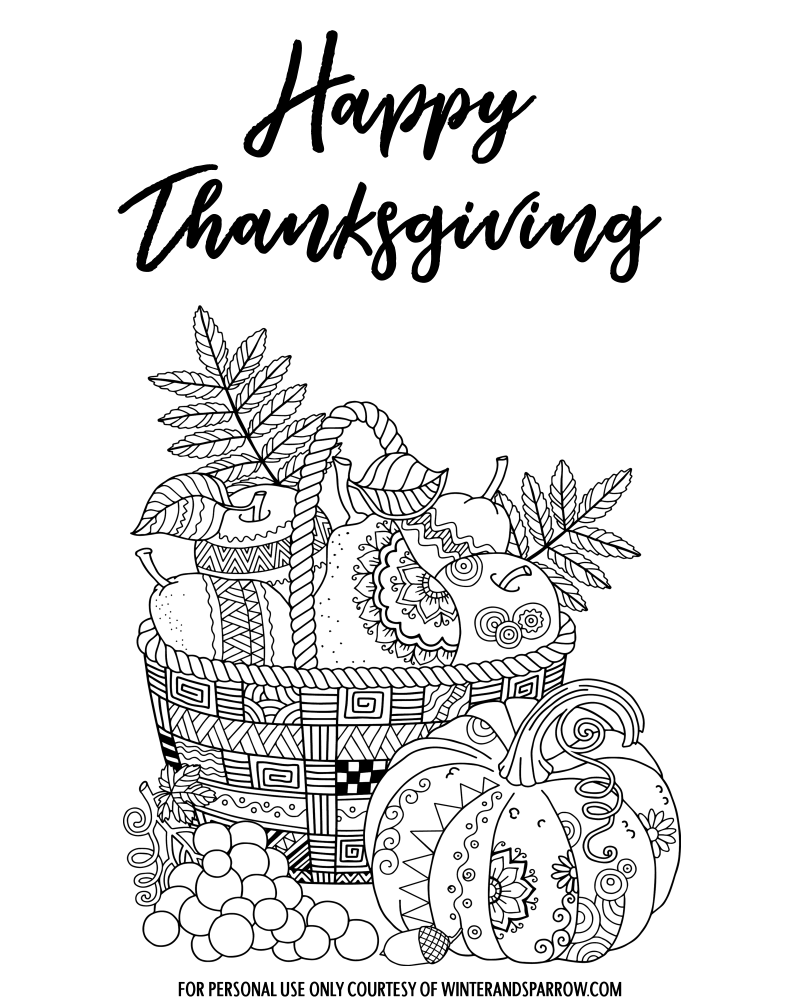 Printable Thanksgiving Coloring Pages For Adults Di 2021 [ 1000 x 800 Pixel ]
