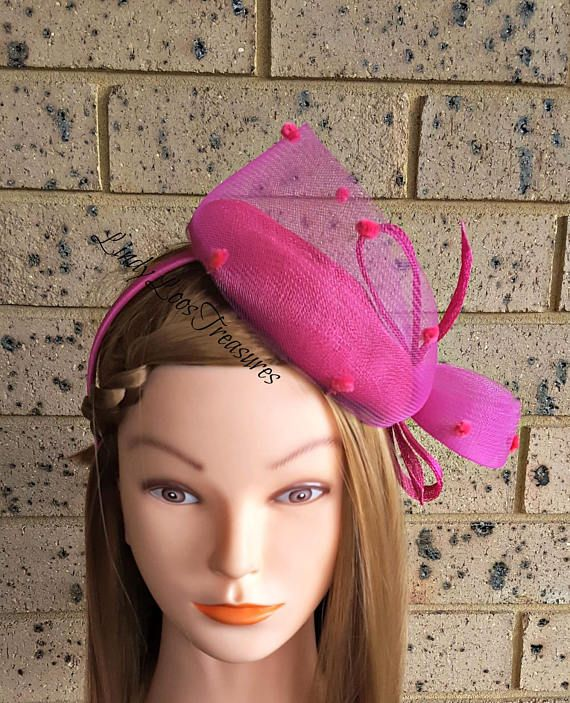 ef7e49d1d0db Fuchsia Sinamay Fascinator Hat, Sinamay Fascinator Headband, Mother ...