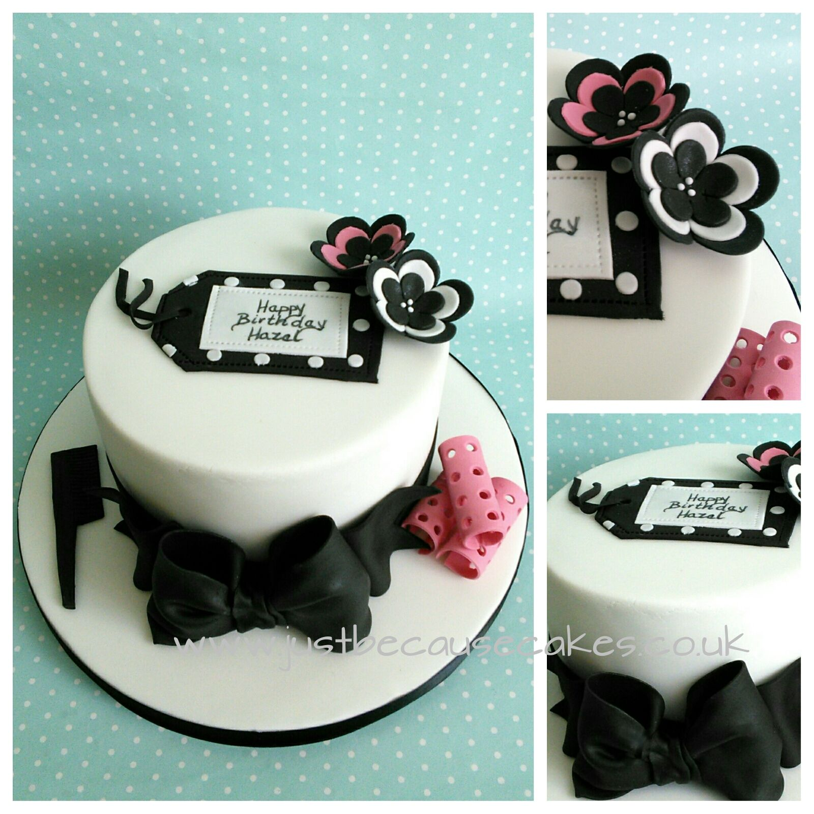 Little Elegant Black And White Cake With Few Hair Curlers A Hairdressing