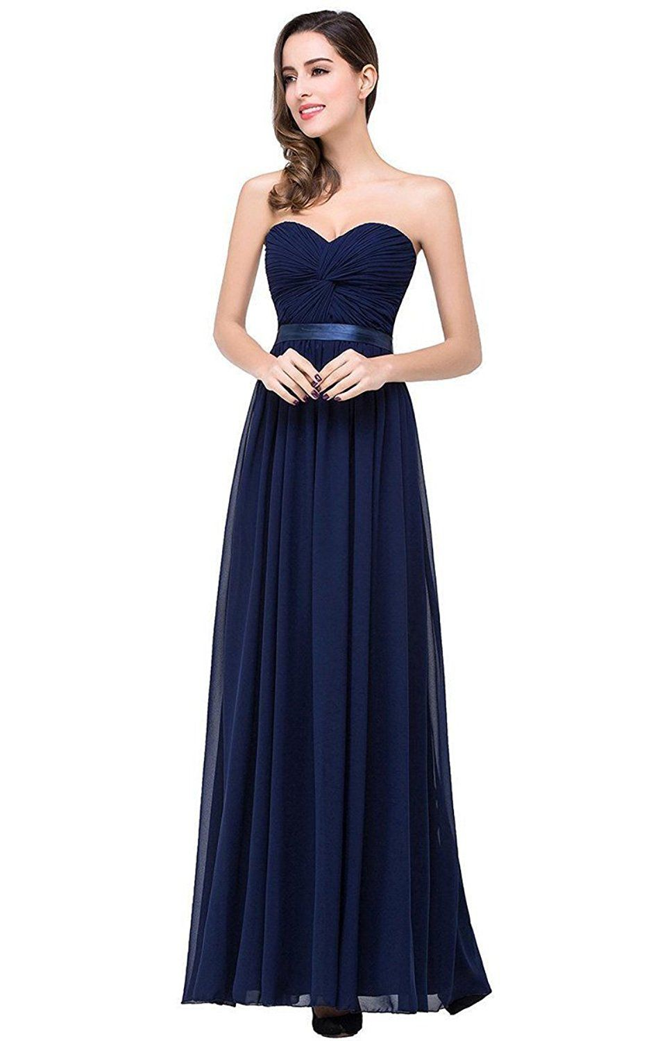 Sexy sweetheart chiffon navy blue bridesmaid dresses long prom