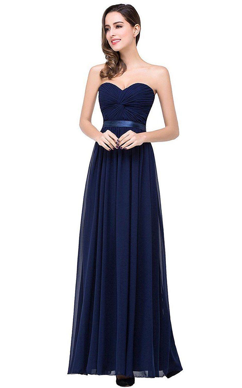 Sexy sweetheart chiffon navy blue bridesmaid dresses long prom