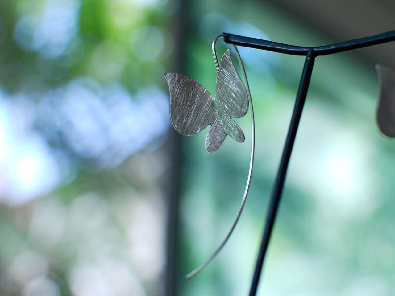 Butterfly silver earrings - handmade, jewelry, gift. $21.00, via Etsy.