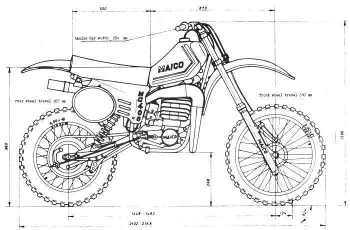 1980 Maico Mega 1 Drawing