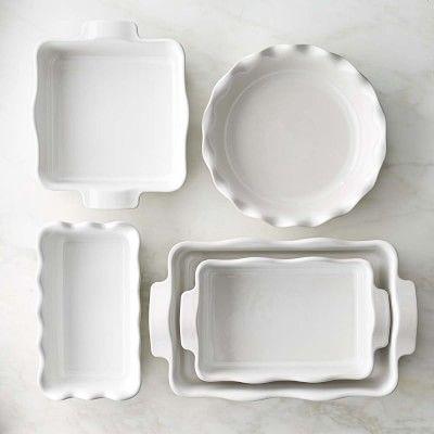 Emile Henry Ultimate 5 Piece Ruffled Bakeware Set White