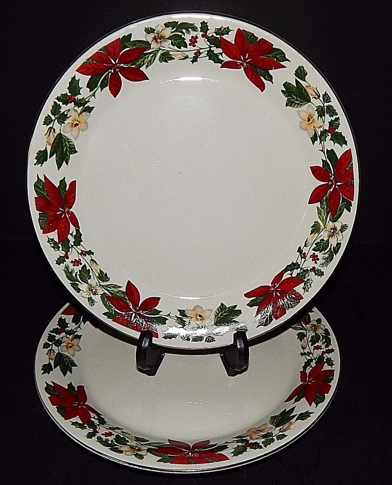 (2) Gibson Designs POINSETTIA Christmas Holiday DINNER PLATES 3400249 Red Green #Gibson & 2) Gibson Designs POINSETTIA Christmas Holiday DINNER PLATES 3400249 ...