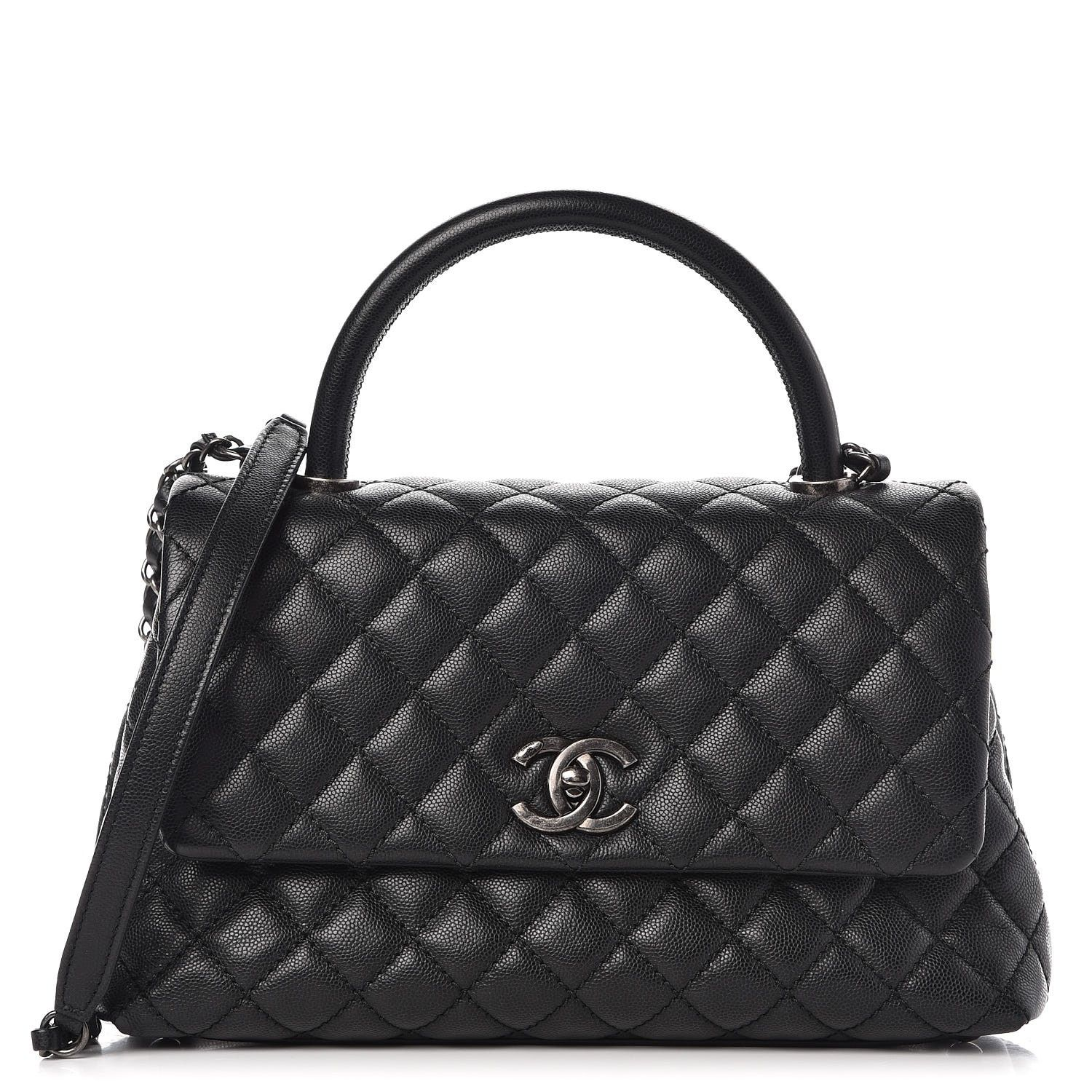 CHANEL Caviar Quilted Small Coco Handle Flap Black