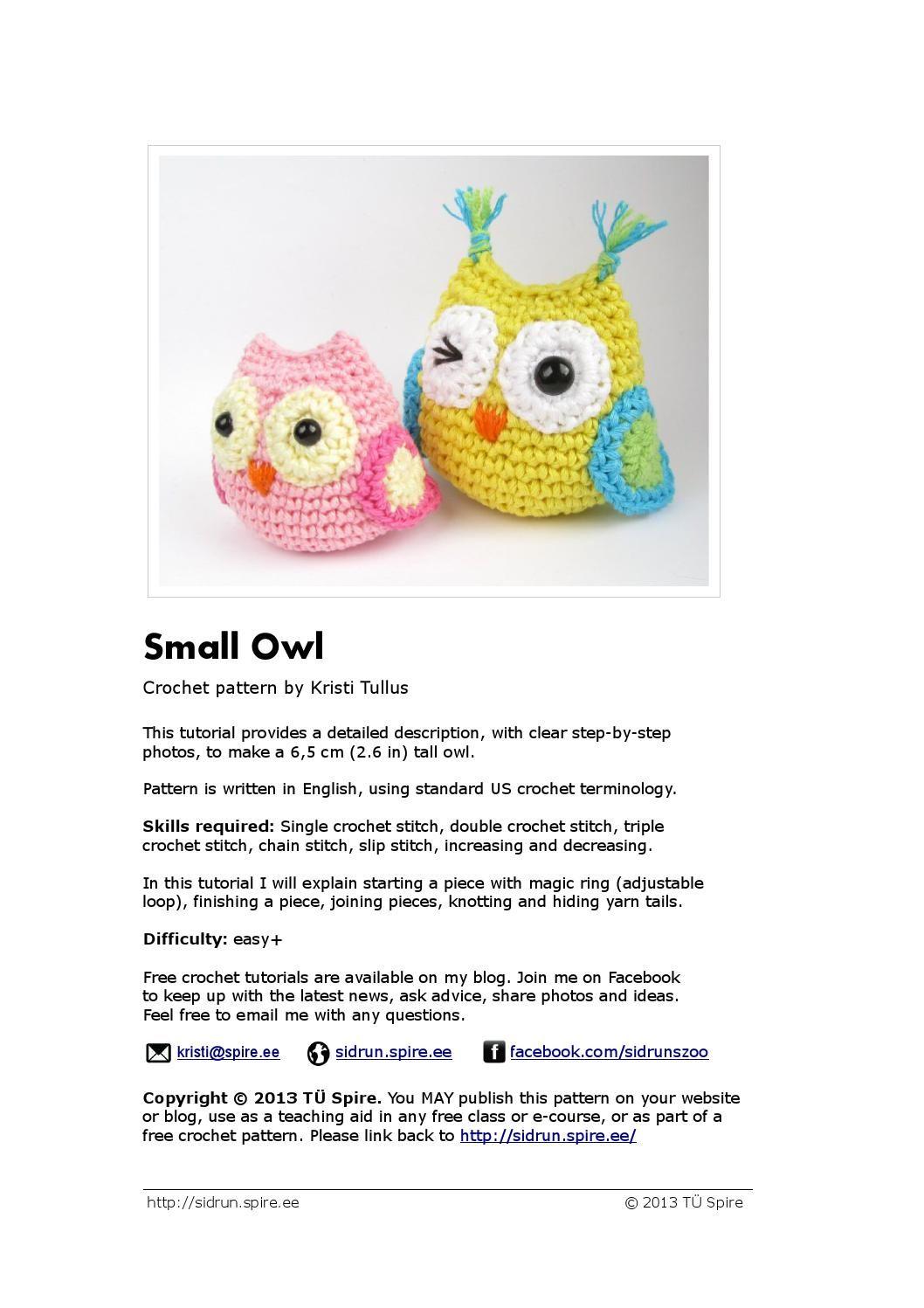 Owl pattern | Patrones amigurumi, Revistas y Patrones