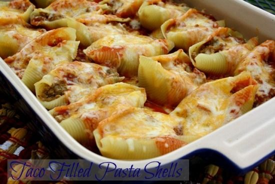 Mommy's Kitchen: Taco Filled Pasta Shells from Gooseberry Patches  101 Cozy Casseroles.