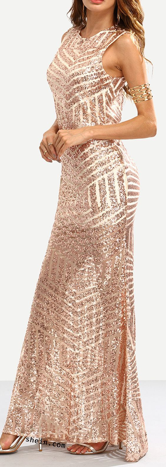 Rose gold sequins embedded cut out back mermaid dress my wedding