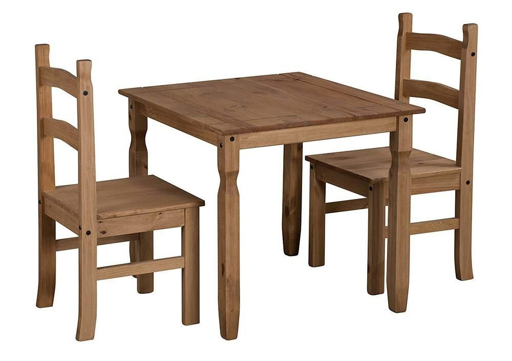 Classic Dining Table Chairs Set Square Corona Solid Pine Wood 2