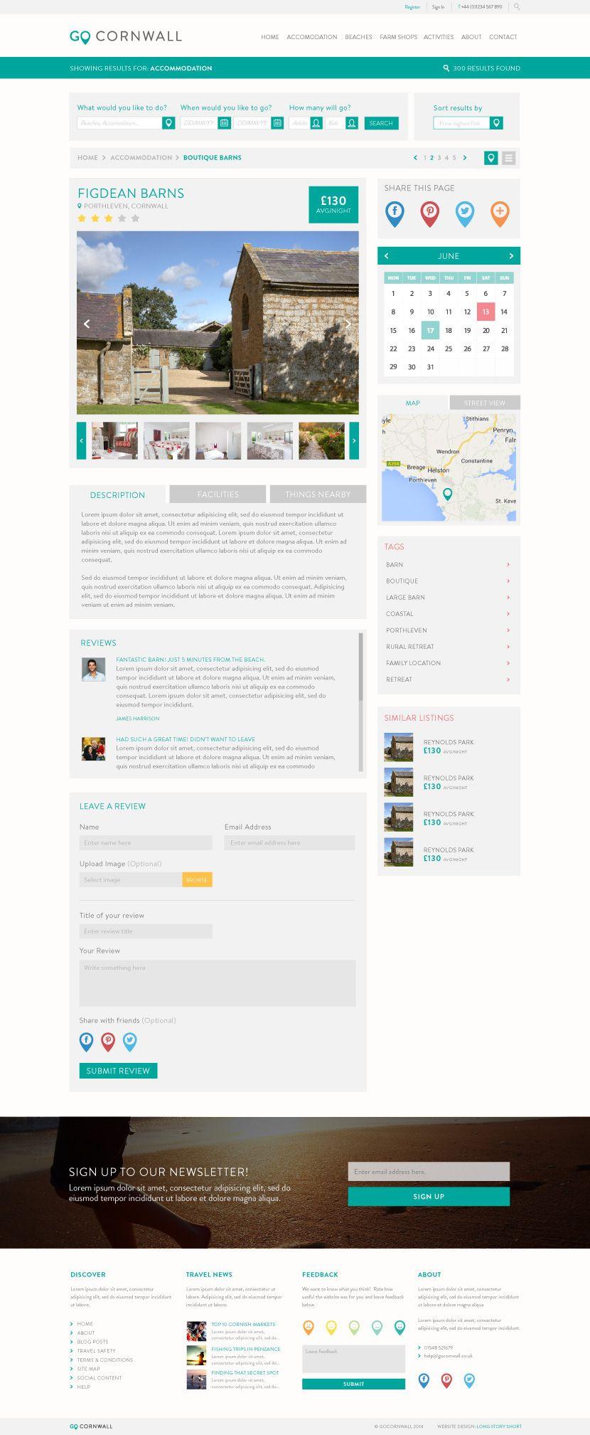 Go Cornwall Web Design, Tavel Website, Sub Page  http://longstoryshortdesign.co.uk