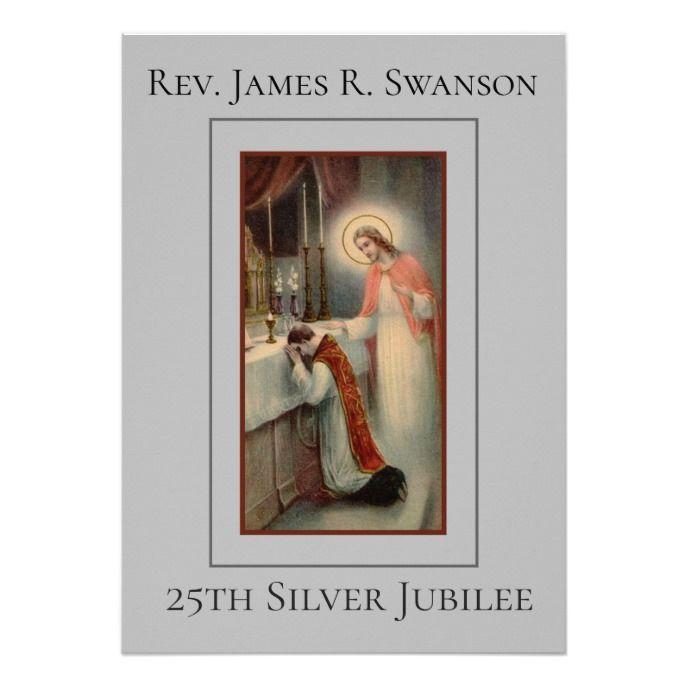 Priest With Jesus Silver Anniversary Invitation