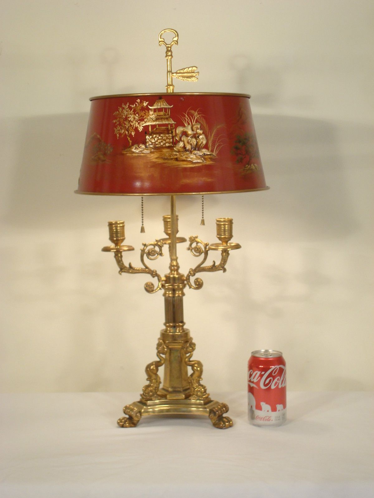 Antique French Brass Bouillotte Chinoiserie Lamp French