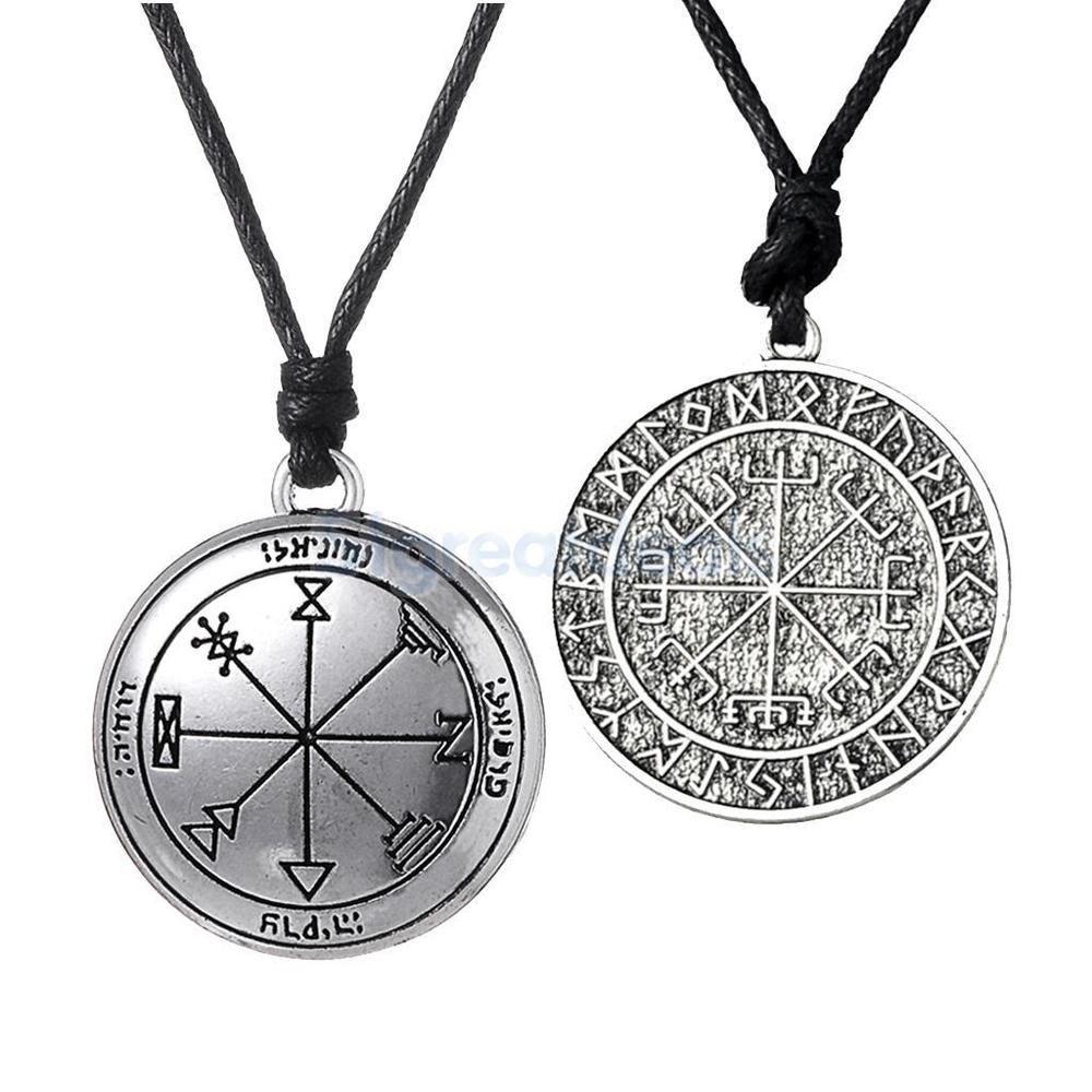 2pcs Exotic Nordic Viking Pentagram  Protection Leather Necklace