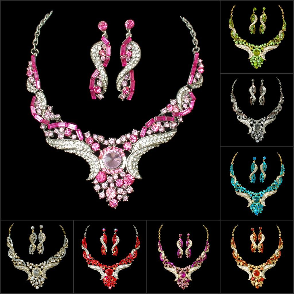 WHOLESALE LADY'S HOT SALE SHINNING NECKLACE AND EARRING JEWELRY SETS FOR DISCO BALL PARTY