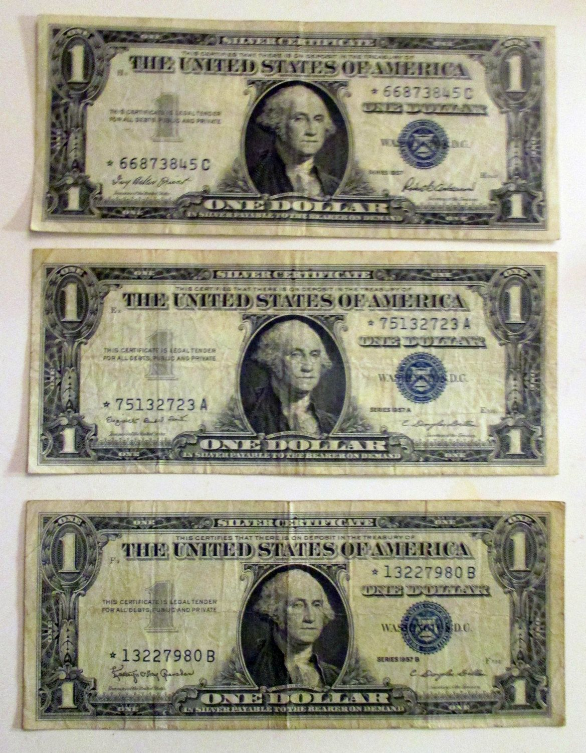 Three Silver Certificates, 1957 B, 1957 A and 1957, One Dollar Bills ...