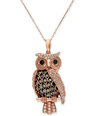 Confetti by EFFY White and Brown Diamond Owl Pendant Necklace (1/2 ct. t.w.) in 14k Rose Gold - Necklaces - Jewelry & Watches - Macy's