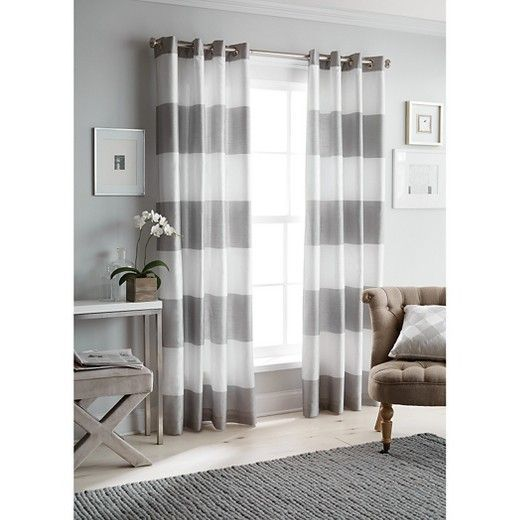 These Gray And White Striped Curtains Would Be The Finishing Touch