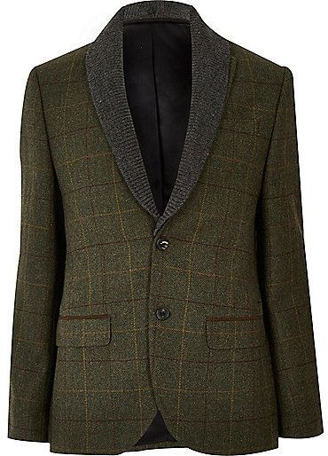 $80, River Island Green Check Wool Blend Slim Blazer. Sold by River Island. Click for more info: https://lookastic.com/men/shop_items/444935/redirect
